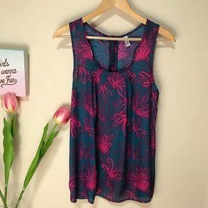 Gap Sleeveless Blouse Shirt Top Floral Print